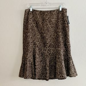 NWT Ideology Brown Floral Damask Skirt - Size 8P